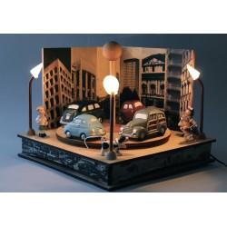 carillon da collezione in legno elettrico e luminoso AUTO IN PIAZZA