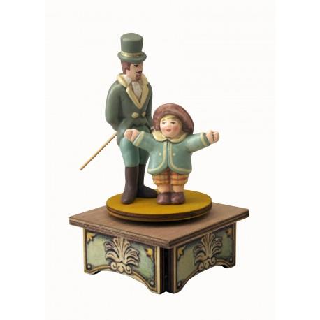 carillon da collezione legno signore e bambina