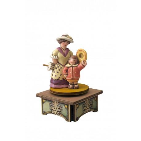 carillon da collezione legno signora e bambina