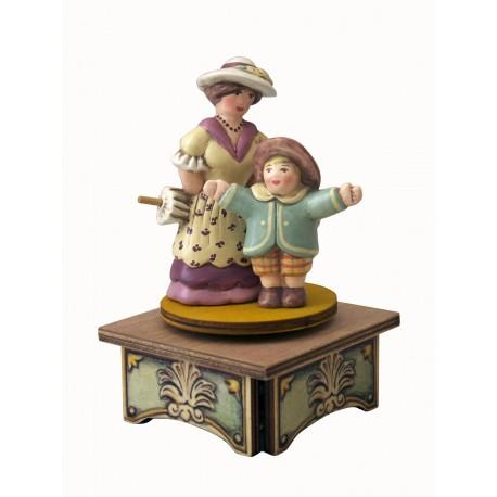 carillon da collezione legno signora e bambino