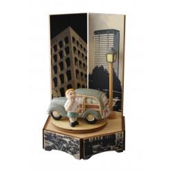 carillon bimbo bambino, per nascita, battesimo, compleanno, macchina legno e ceramica