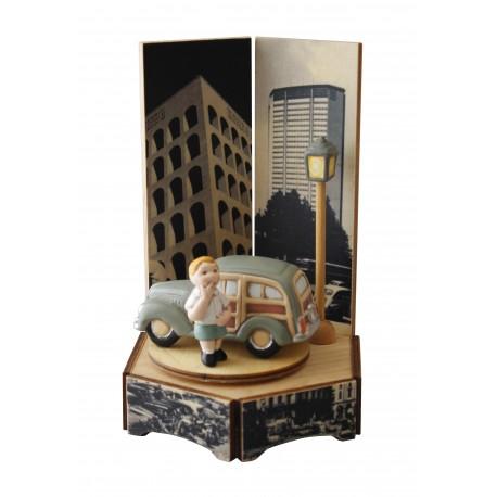 carillon auto d'epoca giardinetta legno e ceramica