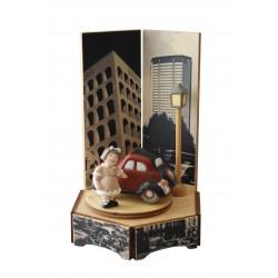 carillon bimba bambina, per nascita, battesimo, compleanno, macchina topolino legno e ceramica