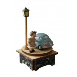 carillon bimba bambina, per nascita, battesimo, compleanno, 500 macchina, legno e ceramica