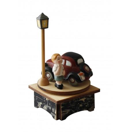 carillon bimbo bambino, per nascita, battesimo, compleanno, macchina topolino legno e ceramica