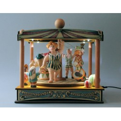 carillon da collezione in legno elettrico e luminoso TENDONE GRAN GIOSTRA CIRCUS