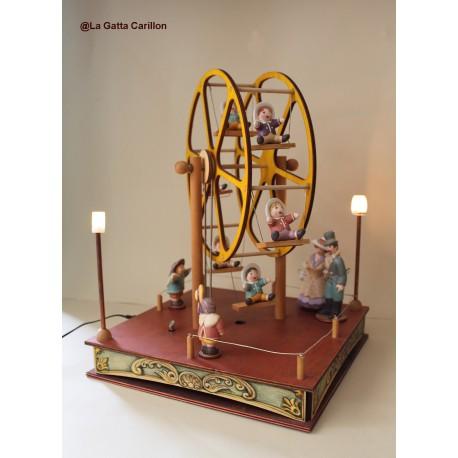 carillon bimbi in legno luminoso. Per bambini e neonati. Regalo per nascita o battesimo. Gran ruota panoramica bimbi