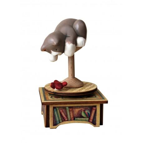 carillon da collezione legno gatto e uccellino