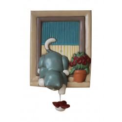 carillon da collezione gatto GATTO alla finestra con uccellino