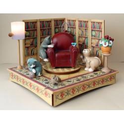 carillon collezione gatti in legno luminoso. Per bambini, neonati e adulti. Regalo per nascita o battesimo. GATTI, POLTRONA E LI