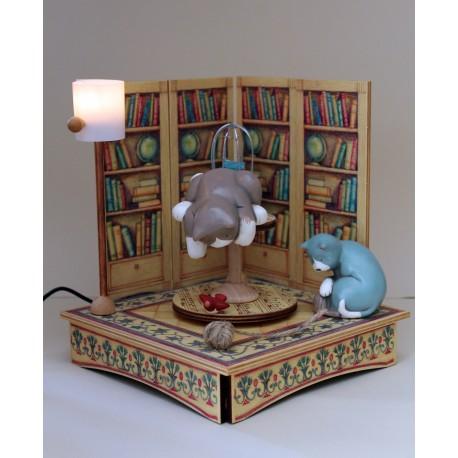 carillon collezione gatti in legno luminoso. Per bambini, neonati e adulti. Regalo per nascita o battesimo. GATTI E LIBRERIA