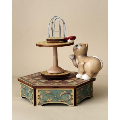 GATTO E GABBIETTA, carillon in legno