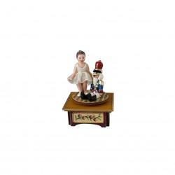 carillon ballerina da collezione in legno bimba e schiaccianoci