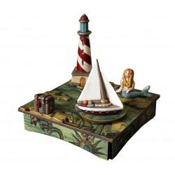 carillon legno da collezione faro, veliero, Sirena nell'antico mare dell'Isola del Tesoro. Artigianale made in Italy