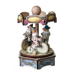 carillon giostra pagliacci, per bambini. giostra in legno da collezione CLOWN IN GIOSTRA