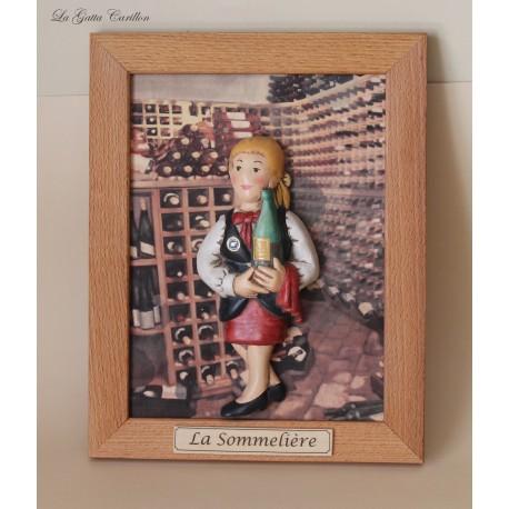 quadro caricatura da collezione somelier donna, cameriera o barista, idea regalo da collezione, regalo per inaugurazione