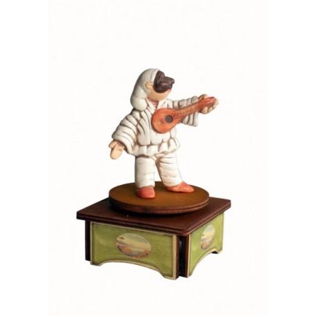 carillon da collezione Pulcinella. maschere Napoli a teatro. in legno e ceramica. PULCINELLA E MANDOLINO. carillon legno