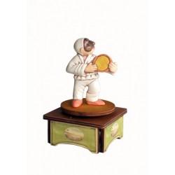 carillon da collezione Pulcinella. maschere Napoli a teatro. in legno e ceramica. PULCINELLA E TAMBURELLO