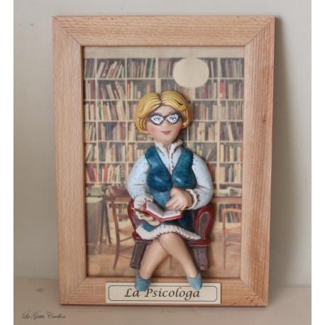 psicologa o psicoterapeuta quadro caricatura da collezione Architetto, idea regalo da collezione, regalo di laurea o inaugurazi