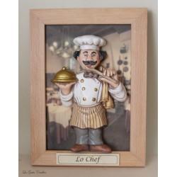 caricatura professione chef uomo legno e ceramica personalizzabile artiginale