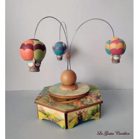carillon da collezione per bambini in legno e ceramica 3 mongolfiere regalo battesimo nascita4