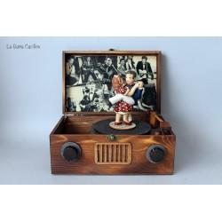 carillon rock and roll swing ballerini innamorati giradischi in legno artigianale 4