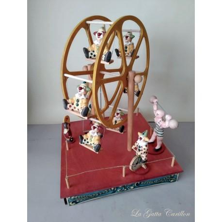 Carillon Ruota panoramica con pagliacci. carillon da collezione per bambini e adulti.