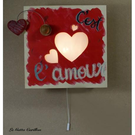 LAMPADA CARILLON CUORI, in legno per innamorati regalo anniversario fidanzamento