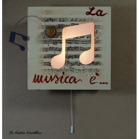 carillon luminoso lampada applique in legno per amanti della musica
