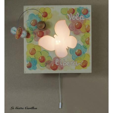 carillon luminoso lampada applique in legno per bambine e bimbe o ragazze e donne