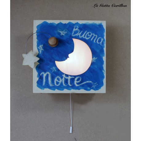 carillon luminoso lampada applique in legno per bimbi e bambini con luna e stelle