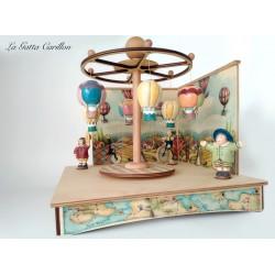 carillon GIOSTRA CAVALLI con bimbi, in legno per bambini. Regalo battesimo o nascita. Da collezione per adulti