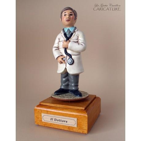 caricatura carillon da collezione dottore, regalo laurea o pensione, professionisti,
