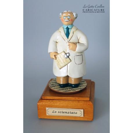 caricatura carillon da collezione PROFESSORE RICERCATORE SCIENZIATO, regalo professionisti, dottore hobbisti, laurea