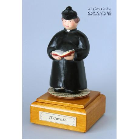 caricatura carillon da collezione PARROCO, SACERDOTE, PRETE, regalo professionisti, persone di chiesa