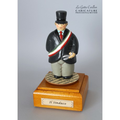 caricatura carillon da collezione SINDACO, regalo professionisti,