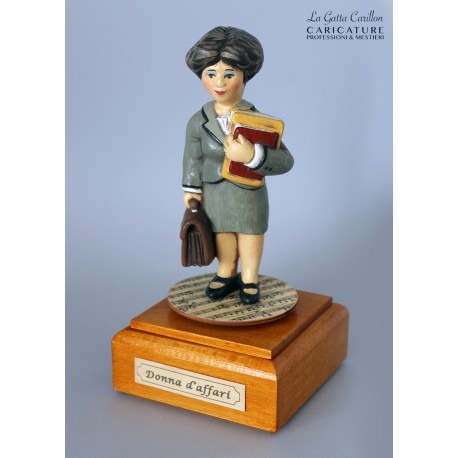 caricatura DONNA D'AFFARI carillon da collezione, inaugurazione o pensione, regalo professionisti, hobbisti, laurea