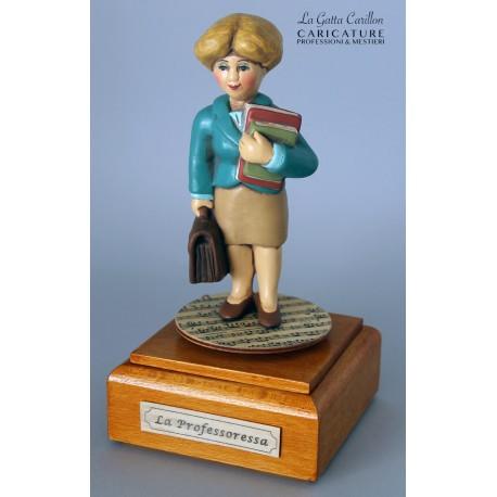 caricatura PROFESSORESSA carillon da collezione carabiniere, regalo professionisti, hobbisti, laurea