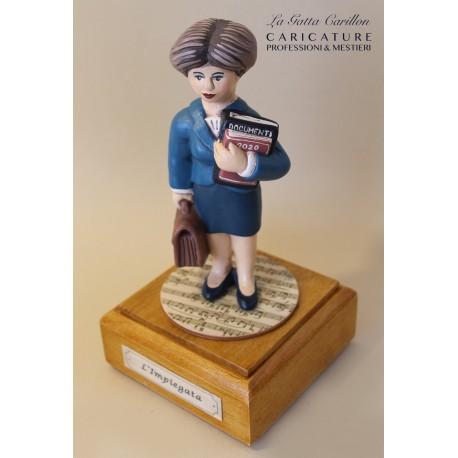 caricatura IMPIEGATA carillon da collezione, inaugurazione o pensione, regalo professionisti, dottoressa