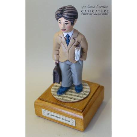 caricatura carillon da collezione COMMERCIALISTA, regalo laurea professionisti, hobbisti, laurea