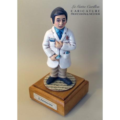 caricatura carillon da collezione FARMACISTA, regalo laurea professionisti, dottore