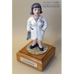 caricatura FARMACISTA DONNA carillon da collezione carabiniere, regalo professionisti, dottoressa