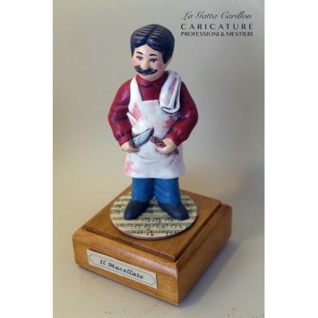 caricatura MACELLAIO carillon da collezione carabiniere, regalo professionisti, dottoressa