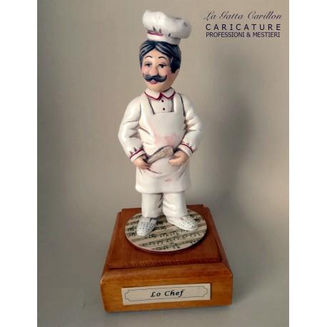 caricatura CHEF - CUOCO carillon da collezione carabiniere, regalo professionisti, hobbista, mestiere