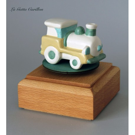 TRENINO, carillon bimbo neonati bomboniera legno TRENINO