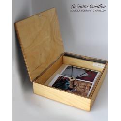 Scatola con carillon personalizzabile, contenitore di foto di viaggi, cerimonie, porta libri.