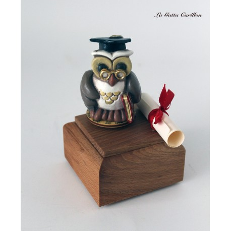 carillon gufo dottore laurea bomboniera LAUREATA, regalo di laurea caricatura