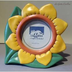 PORTA FOTO da collezione in ceramica. Raffigurante una margherita bianca