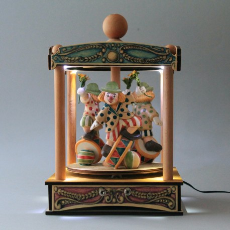 carillon luminoso, giostra circo, pagliaccio clown, per bambini e adulti, regalo battesimo o nascita. Da collezione.