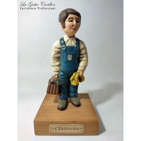 caricatura ELETTRICISTA carillon da collezione carabiniere, regalo professionisti, hobbisti